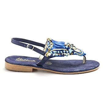 Balduccelli Blue Leather With Pearl Flip Flops Sandals