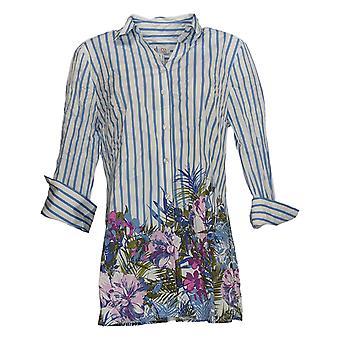 Denim & Co. Women's Top Button Front 3/4 Sleeve W/Border Print Blue A354000