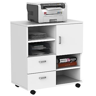 HOMCOM Mobile Storage Cabinet Sideboard Cupboard with Drawers 4 Shelves Lockable Wheels White