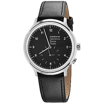 Mon helvetica no1 regular 2nd time zone watch for Swiss Analog Quartz Men with cowhide bracelet MH1. R2020.LB