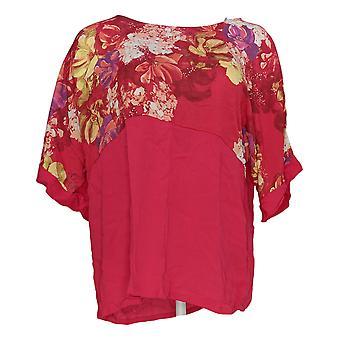 DG2 di Diane Gilman Women's Top Pink Floral Print Blouse Rayon 677-334