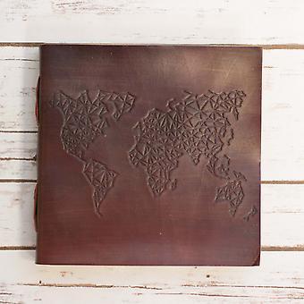 World Map Square käsintehty nahkapäiväkirja