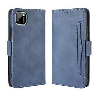 For OPPO Realme C11 Wallet Style Skin Feel Calf Pattern Leather Case with Separate Card Slot(Blue)