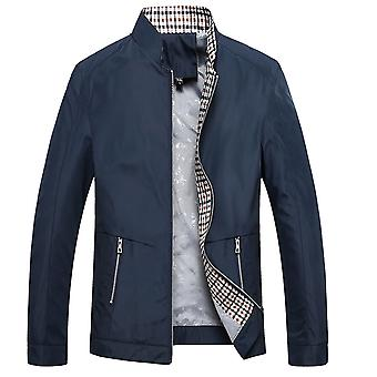 Men's Stand Collar Solid Color Simple Fashion Slim Jacket