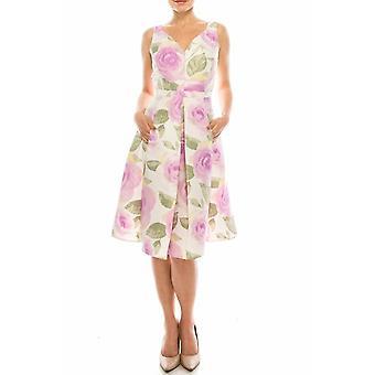Kukka painettu hihaton ympyrä hame mekko