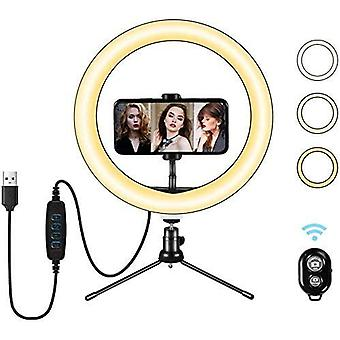 LED Dimmable Selfie Ring Light 10 inch with Tripod Stand and Phone Holder