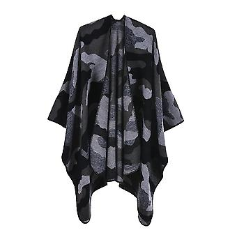 Ladies Autumn And Winter Plus Size Camouflage Black And Gray Warm Scarf Blanket Shawl