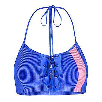 Puma x Rihanna Fenty Womens Lacing Crop Halter Knitted Top Blue 577262 01 A8B