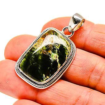 الاسترالية الخضراء أوبال قلادة 1 5/8 & نقلا عن ( 925 الاسترليني الفضة) -- اليدوية بوهو خمر مجوهرات PD746089