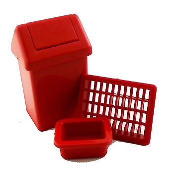 Dukker House Swing Bin Fad Drainer & amp; Opvask Skål Køkken Tilbehør Set Rød