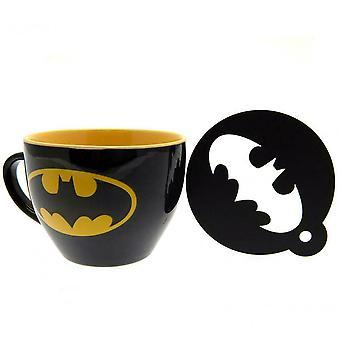 Batman Fledermaus Signal Becher und Schablone Set
