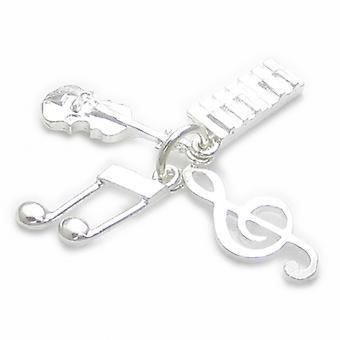 Violine Keyboard Treble Clef Musik Note Sterling Silber Charm .925 Charms - 4403