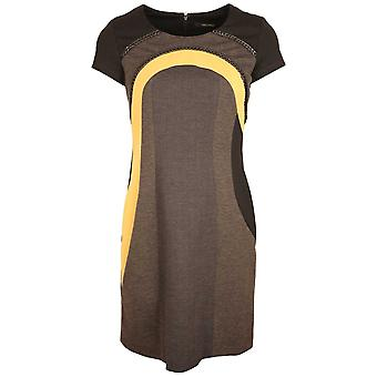 Fuego Woman Grey & Yellow Capped Sleeve Panel Shift Dress