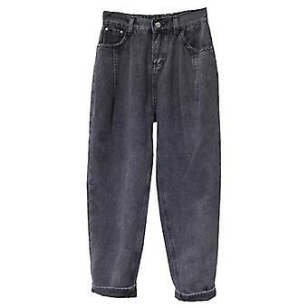 ג'ינס אישה, מותניים גבוהים פלוס גודל, רוכסן רופף, לטוס הרמון נקבה באורך מלא
