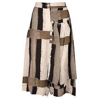 Crea Concept Natural Tone Colour Palette Striped Loose Fit Wide Leg Crop Pants