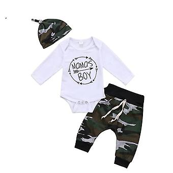 Newborn Toddler Infant Baby Long Sleeve Tops Romper Camouflage Pants Hat Kids