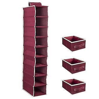 Bomull och linne Nio lager hängande väska med låda lagring nio lager förvaringsväska med tre lådor