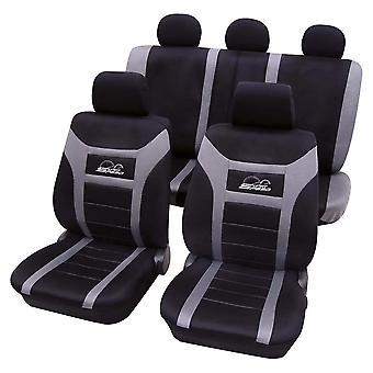 Autositz abdeckungen Super-Speed Schwarz und Rot, Airbag kompatibel, (11 Stück) einfach zu montieren, waschbar