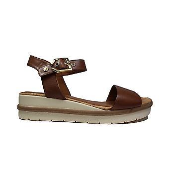 Tamaris 28222 Brown Leather Womens Wedge Sandals