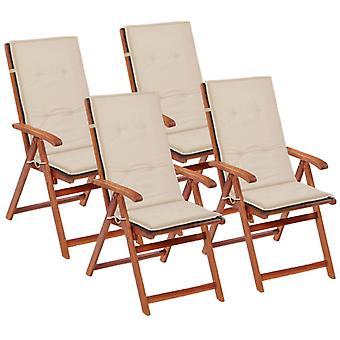 vidaXL garden chair edition Hochlehner 4 pezzi. crema 120 x 50 x 3 cm