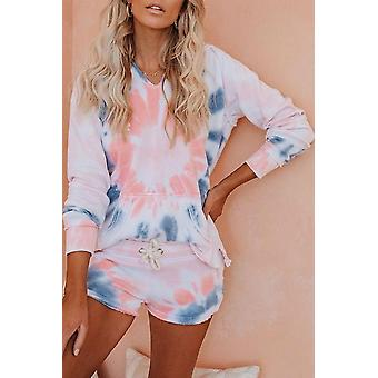 Cotton Blend Pocketed Pink Tie-dye Hoodie Shorts Set