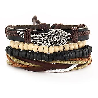 Leather Punk Bracelet Angel Wings Multilayer Bangle Jewelry