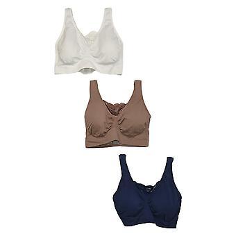 Rhonda Shear 3XL Reg Women's 3-pack Cotton Blend Ahh Bra Blue 679965