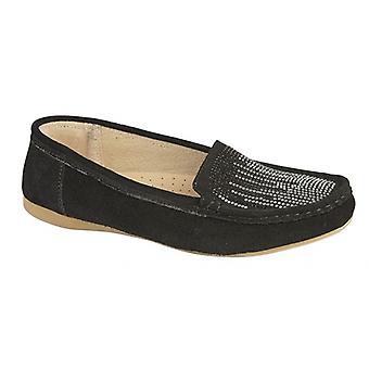 Boulevard L138as Ladies Suede Loafers Black
