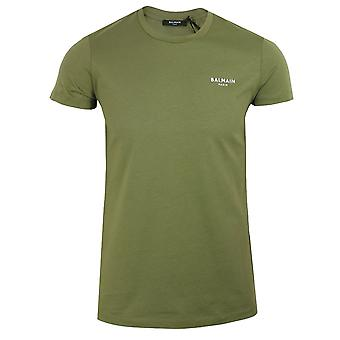 Balmain men's khaki velvet logo t-shirt