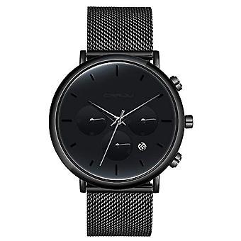 SUPBRO Ultra thin men's watches with minimalist black quartz with black mesh strap(5)