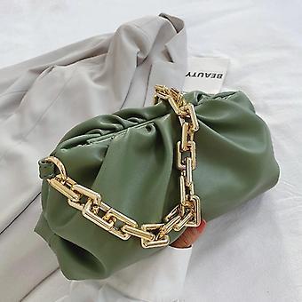 Grüne Clutch Tasche mit dicken Gold Kette Falten lange Stick kleine Handtasche (28cm * 14cm * 12cm)
