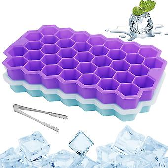 Pueple blue 2 pcs silicone ice cube tray 37 compartment ice cube mold with cover cai1464