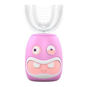 Pink children electric toothbrush £¬u-shaped 360¡ã automatic toothbrush for kids az9341