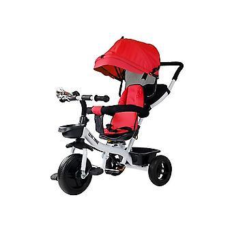 Driewieler kinderfiets en kinderwagen - met zonnevizier - rood