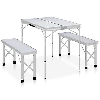 Camping table Foldable With 2 Benches Aluminium White