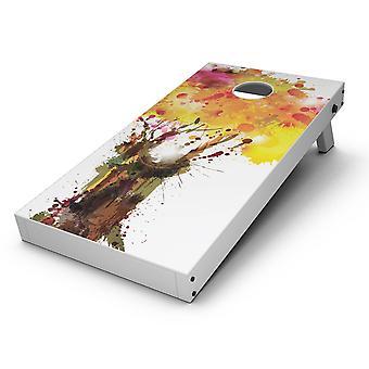 Acuarelă stropit Copac Cornhole Board Skin Decal Kit