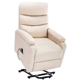 vidaXL Massagesessel mit Aufstehhilfe Creme Stoff