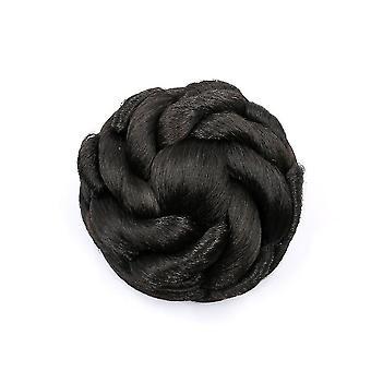 Bruine button-stijl bloem haar bun pruik chignon