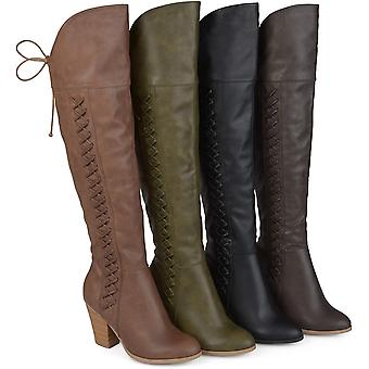 Brinley Co. Womens Faux Leather Faux Lace-up Over-The-Knee Boots