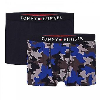 Tommy Hilfiger Boys 2 Pakkaus Alkuperäinen Puuvilla Boxer Runko, Mlu/Camo/Aop/Desert Sky 10-12 Vuotta