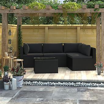 vidaXL 5-tlg. Kit de salon de jardin avec des tirages Poly Rottan Noir