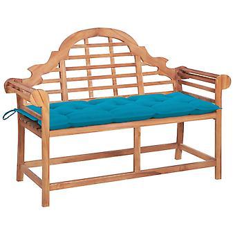 vidaXL garden bench with light blue pad 120 cm solid wood teak