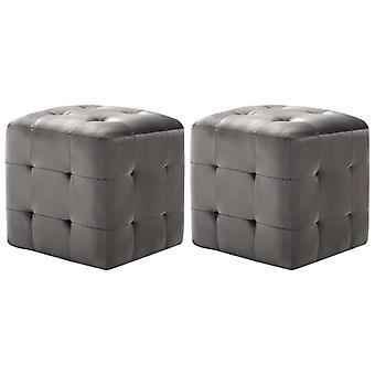 vidaXL nattbord 2 stk. grå 30x30x30 cm fløyel stoff