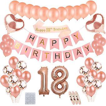 18. Geburtstagsdeko Rosegold für Mädchen : Happy Birthday Banner Girlande und Schärpe,Folienballons