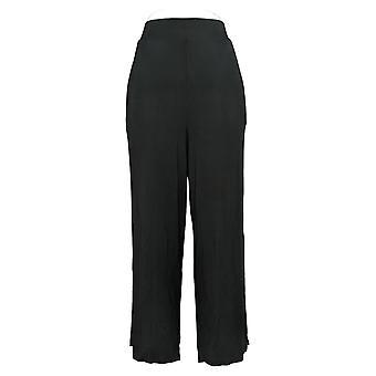 Cuddl Duds Women's Petite Pants Wide Leg W/ Side Slit Black A381609