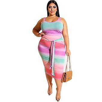 Uusi tiukka sateenkaaren värivaipa muoti puku liivi kaksiosainen overskirt puku