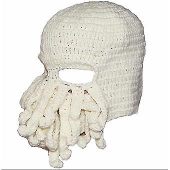 Octopus Hat drôle masqué fait à la main crocheté chapeau chaud(Blanc)