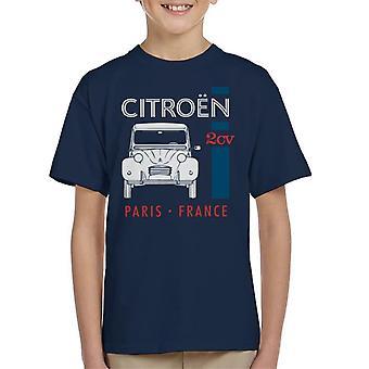 Citroen Vit 2CV Paris Frankrike Single Stripe Kid's T-Shirt
