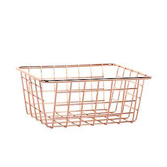 סל אחסון רוז זהב יצוק חוט ברזל קווים פשוטים שולחן עבודה מארגן קישוט הבית