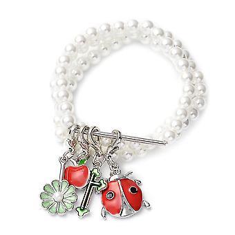 Appel, bloem, kruis, en kever charme armband voor Womens Shell Pearl 0.004ct